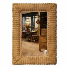 22x32 Oblong Wicker Wall Mirror