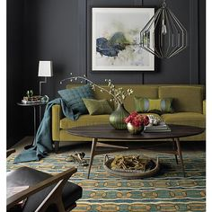 Rochelle sofa - love this whole look! Grey walls, mid-century lines...awesome.