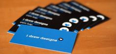 ★★★☆☆ | The #prototype #businesscards of Marie Sturges for her i draw designs #portfolio project. A very colorful #design while using only a strong #blue and dark background.