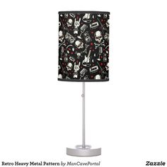 Retro Heavy Metal Pattern Table Lamp Decorative Lamps, Linen Lamp Shades, Incandescent Light Bulb, Rice Paper, Heavy Metal, Portal, Keep It Cleaner, Colorful Backgrounds, Table Lamp