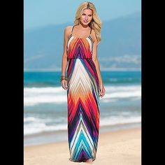 ⚜SUNDRESS⚜ Multi-colored maxi sundress. *worn once* 3rd Pic designers size chart. ****FYI: According to measurements posted, this dress is a fit between a M/L. My measurements are more compatible with the L.**** Bailey Blue Dresses Maxi