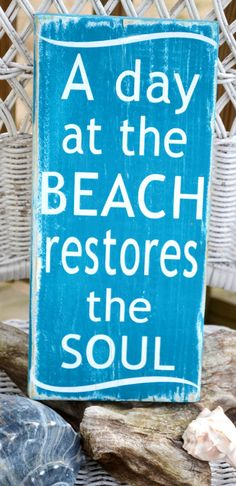 A Day At The Beach Restores The Soul, Beach Decor, Handpainted (No Vinyl) Reclaimed Beach Wood Sign via Etsy Quiero ir a la playa. Beach Wood Signs, Wooden Signs, I Need Vitamin Sea, Playa Beach, Cozumel Beach, Oceanside Beach, Pismo Beach, Ocean Beach, Costa