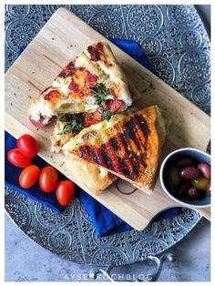 Sucuk Panini mit Kaese l Sucuklu Toast Snacks, Vegetable Pizza, Waffles, Sandwiches, Vegetables, Breakfast, Burger, Dips, Food