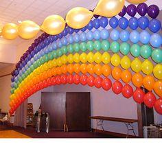 Ooohhh....a rainbow balloon wall!!