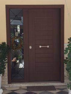 ΑΛΟΥΜΙΝΙΟ ΣΕ ΧΡΩΜΑ ΞΥΛΟΥ Door Gate Design, Latest Door Designs, Main Entrance Door Design, Front Door Makeover, Home Door Design, Ceiling Design, Entrance Design, Gate Design, Front Door Design