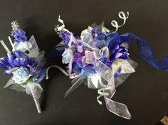 Silk Wrist Corsage & Boutonnière In Lavenders & Light Blue With White Ribbon & Wire Trimmings