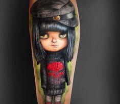 Doll tattoo by Elena Magina