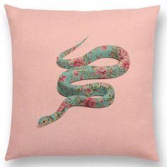 The Twisted Fantasies throw pillow collection features pinks and pastel hues and interesting, conceptual graphic prints of animals, unicorns, reptiles, etc. PRODUCT HIGHTLIGHTS - Unique, interesting, conceptual images on linen throw pillows. - Eco-friendly, environmentally-conscious fabric and dye. - Hidden zipper closure. - Removable/Washable cover. - Size: 18x18 Inches - FREE SHIPPING SPECIFICATIONS Home Decor For: Sofa, Chair, Bed, Home Accent Type: Pillow Decor Style: Modern, Creative…