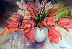 """""""Cadmium Scarlet Tulips"""" by Robin Berry."""