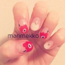 Red white floral