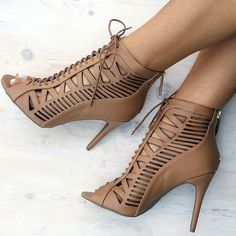 Cut Out Lace Up Heels