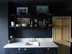 Browse thousands of interior and exterior images from Farrow & Ball. Be inspired with stunning home decor images and design ideas for your home. Barn Kitchen, Kitchen Taps, Kitchen Paint, Kitchen Design, Kitchen Shelves, Kitchen Cabinets, Farrow Ball, Farrow And Ball Living Room, Farrow And Ball Kitchen