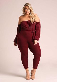 Plus Size Clothing | Plus Size Off Shoulder Puff Sleeve Jumpsuit | Debshops