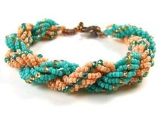 Slinky Bracelet Tutorial using Preciosa Chilli Beads, 8/0 Seed Beads, a clasp and Fireline beading thread   ~ Seed Bead Tutorials