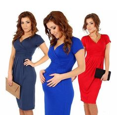a9f55d611ba76 New Fashion 2016 Elegant Celebrity V-neck Pregnant Women Short Sleeve  Knee-length Cotton Casual Bodycon Women Dresses