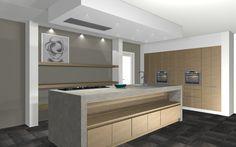 Mooie blank eiken keuken met sfeervol open gedeelte aan de voorkant... Werkblad van Beton Ciré.