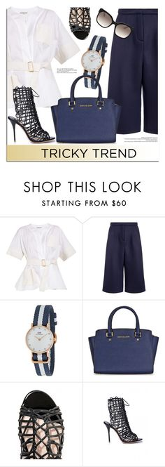 """""""Tricky Trend: Culottes"""" by jomashop ❤ liked on Polyvore featuring Balenciaga, Emma Cook, Daniel Wellington, Sophia Webster, Prada, TrickyTrend, Blue and culottes"""