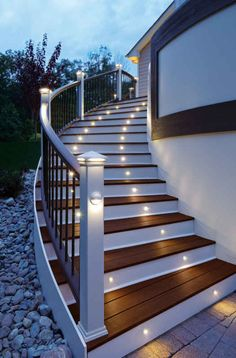 This may work for stairs on garage-Energy efficient LED stair lights by Trex Deck Lighting. Looks good and serves a great purpose. Led lighting is bright and uses much less energy then the regular lights people are used to. Stairway Lighting, Deck Lighting, Lighting Ideas, Lighting Design, House Lighting, Basement Lighting, Exterior Lighting, Landscape Lighting, Outdoor Stairs