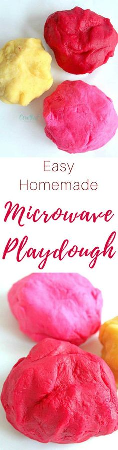 MICROWAVE PLAYDOUGH - This microwave playdough is so easy to make and a great, fun project for kids! Very different from store bought play dough, made with safer and healthier ingredients.  #playdough #playdoughrecipes #craftsforkids #crafting #diy #easycrafts #kidsactivities