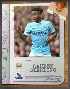 Raheem Sterling Manchester City (Barclays Premier League) Passport Insert Card 2016 Topps KICK