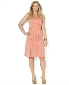 Lauren Ralph Lauren Plus Size Dress - Sleeveless Pleated Belted in blush pink.jpg