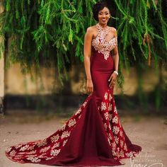 Burgundy Evening Dresses Long Mermaid One Shoulder Evening Formal Dress Vestidos De Noiva Long Mermaid Women Evening Dress Long(China) African Prom Dresses, African Wedding Dress, African Fashion Dresses, African Dress, Burgundy Homecoming Dresses, Prom Party Dresses, Party Gowns, Dress Prom, Burgundy Dress