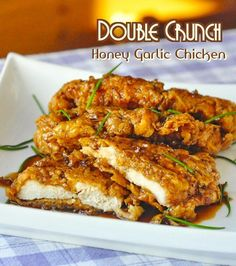 Double Crunch Honey Garlic Chicken Breasts - Super crunchy, double coated chicken breasts get dipped in the best ever honey garlic sauce before serving. This easy chicken dish has had well over 2 MILLION page hits on RockRecipes.com and has been pinned hu