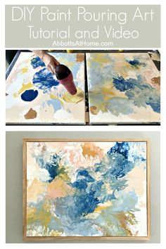 Try this easy DIY Paint Pouring Art Idea to make your own low cost and beautiful wall art, includes full acrylic pour video. This is one of my favorite DIY Decor Projects, guys. diy Try this pretty DIY Paint Pouring Wall Art Idea - Abbotts At Home Diy Canvas Art, Diy Wall Art, Diy Wall Decor, Diy Artwork, Diy Home Decor Easy, Painted Wall Art, Cheap Wall Art, Wall Art Crafts, Simple Wall Art