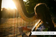 Photography by Samantha McGranahan, The Roxy Studio, Sprout Session, summer,daughter, cute, fun, love, sweet, smiles, music, harp, senior portraits, instrument, yellow, gold, evening, dramatic, beautiful