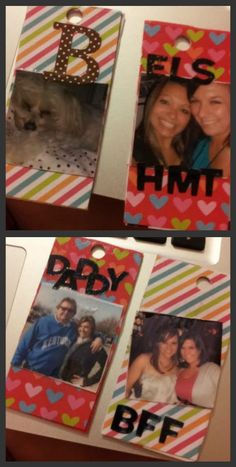 scrapbook paper + pictures & stickers on old gift cards/credit cards covered in mod podge!