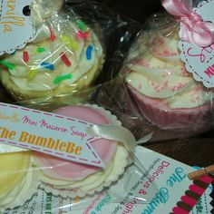 Orders Up! Vanilla & strawberry cupcake soaps and mini macaron soaps with whipped soap frosting 🎉 ❤
