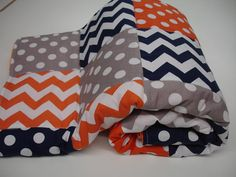Love this for kids bedroom - maybe change orange to red - Chevrons and Dots in Navy Orange and Gray Minky by KBExquisites, $30.00