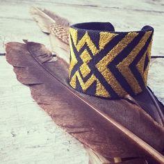 Tribal / geometric embroidery hand cuff in earthy colours #DIR69 #tribal #folk #gypsy #boho #fashion