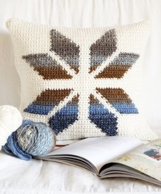 Lovely free pattern from Amy @ Little Doolally: Snowflake Cushion - there is also a link for Intarsia Crochet tutorial
