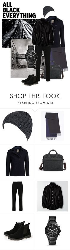 Gritty by maria-kuroshchepova on Polyvore featuring American Eagle Outfitters, George, Superdry, FOSSIL, Heat Holders, men's fashion, menswear and allblack