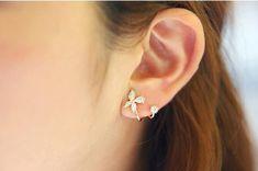 Molyveva CZ Vine Jewelry Sweep Crystal Wrap Cuffs Ear Crawler Earrings Climbers Ear Pin Stud Hook Jewelry