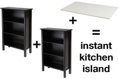 Instant kitchen island (DIY)...this may be the solution to our lack of storage space in our new kitchen!