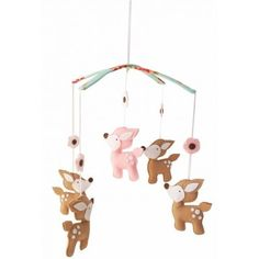 So PRETTY! This gorgeous baby mobile features felt deer in gorgeous shades of…