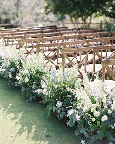 Aisle flowers, floral wedding, wedding ceremony backdrop, wedding aisle d. Wedding Aisles, Garden Wedding, Wedding Bouquets, Wedding Venues, Dream Wedding, Wedding Ideas, Perfect Wedding, Wedding Isle Flowers, Outdoor Wedding Flowers