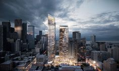 For this week's Inspiration series we've collected some of the best images from the last few months featuring inspiring examples Skyscrapers. Architecture Drawings, Architecture Details, Modern Architecture, Chinese Architecture, Commercial Architecture, Building Architecture, Mix Use Building, High Rise Building, 3d Architectural Visualization