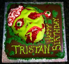 Zombie Face Birthday Cake