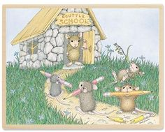 HMPR1078 Scuttle School - House Mouse Rubber Stamps by Stampabilities