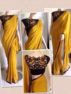 Saree dress - Chiffon is a lightweight transparent fabric originated in French It is very smooth and slippery that is why used for making blouses, sarees, and scarves Since Chiffon is a very delicate fabric, it i Blouse Back Neck Designs, Best Blouse Designs, Silk Saree Blouse Designs, Saree Blouse Patterns, Chiffon Saree, Saree Dress, Simple Sarees, Blouse Models, Stylish Sarees