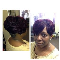 #Hairanjel #Short #layered #bob #quickweave deep #plum #burgundy #Color #instyled with mini #volumizer   For more #information on Quick Weaves you can #email appointments@hairanjel.com