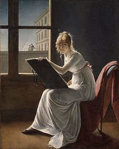 Marie-Denise Villers (previously Constance Charpentier, and before that Jacques-Louis David)     Woman Drawing [possible self-portrait?], c.1801, Metropolitan Museum of Art