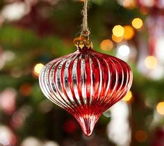 Red Strobe Onion Glass Ornament #potterybarn