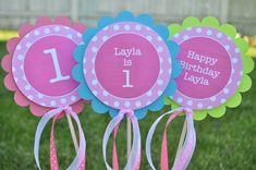 3 Centerpiece Sticks  Girls 1st Birthday Party by sosweetpartyshop, $10.00