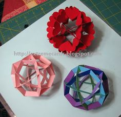 Sliceform icosidodecahedron valentine hearts.    Cut with Cameo from #silhouetteamerica.  Free SVG, Silhouette Studio files.