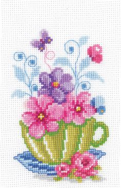 Tea Cup with Flowers Cross Stitch Kit | sewandso