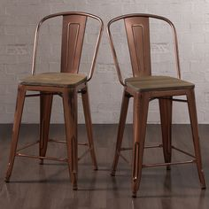 A chic accent dons these Tabouret counter stools to complement the industrial style. Complete with a solid wood seat, the scratch and mar resistant powder coat finish comes in a brushed copper color for a rustic appeal.